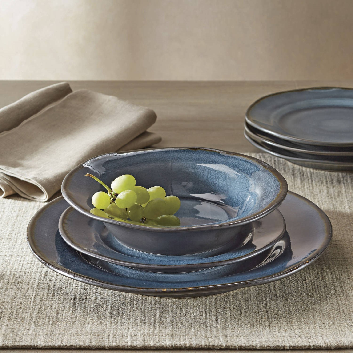 Better Homes and Gardens Bramley Crackle Glaze 12-Piece Dinnerware Set