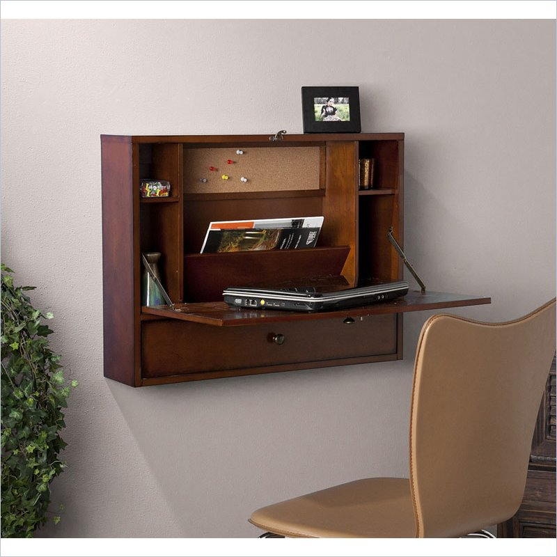 Holly & Martin Holden Wall-Mount Laptop Desk in Brown Mah...