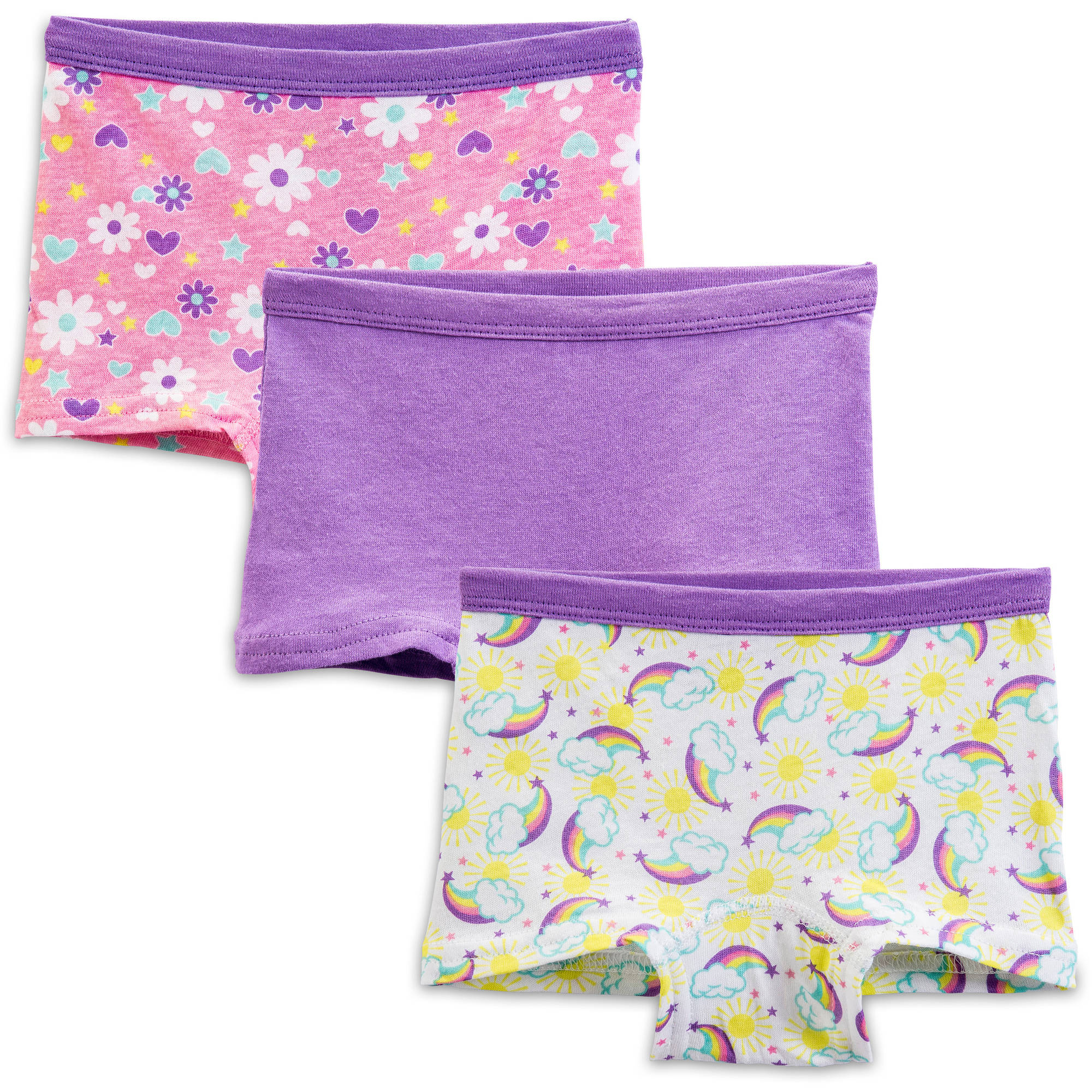 Fruit Of The Loom Toddler Girl Assorted Boy-Shorts Underwear, 3-Pack