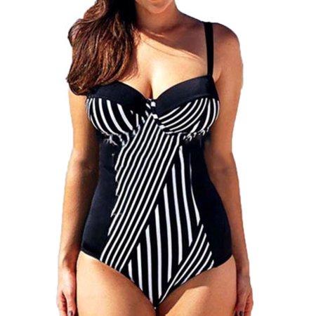 Women Plus Size Striped Padded Swimsuit Push-up Monokini Strappy Bikini Swimwear