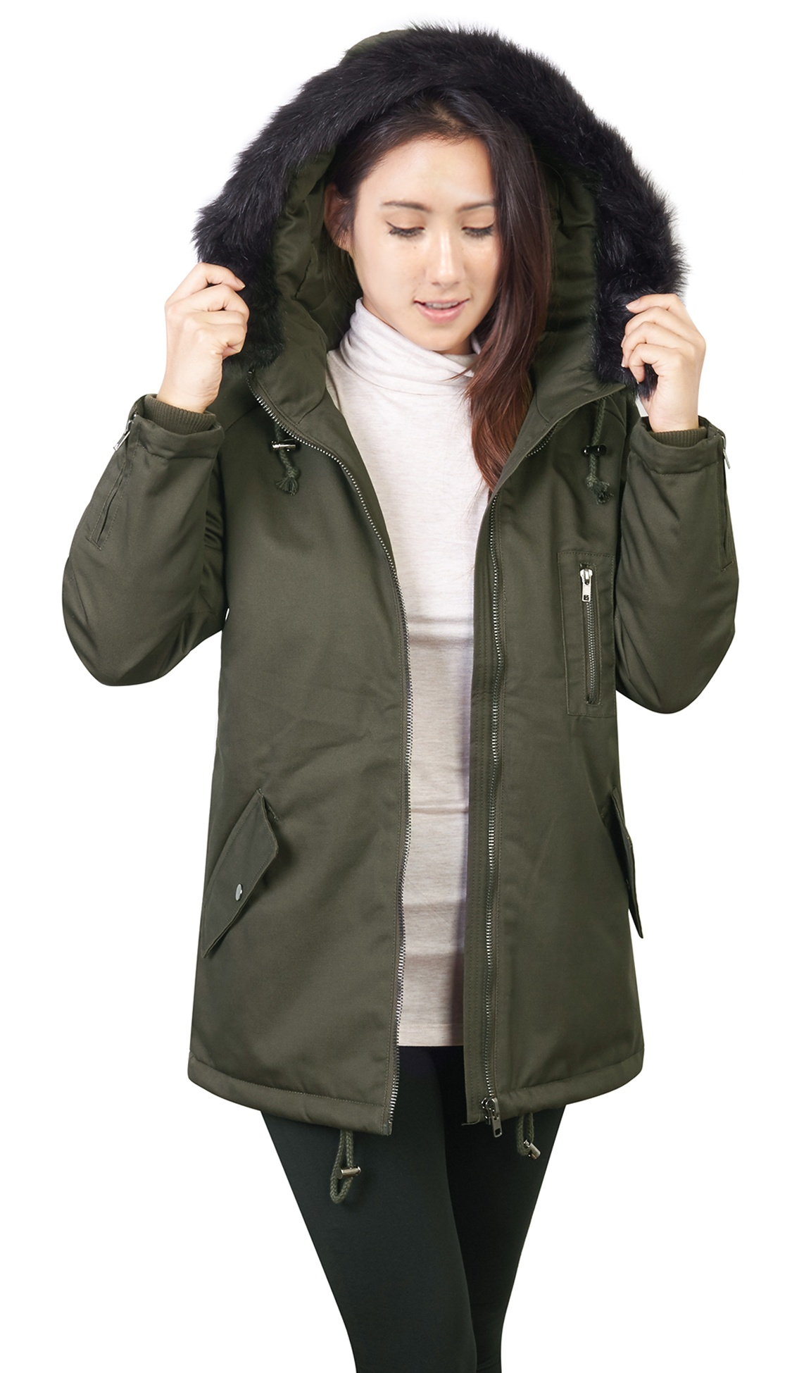 KOGMO Womens Thick Anorak Down Jacket Parka with Faux Fur Hoodie by Parkas