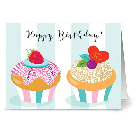24 Birthday Note Cards - Happy Birthday Cupcakes - Blank Cards - Gray Envelopes Included
