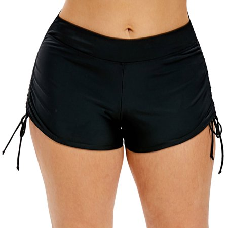 Women's Pluz Size Swim Shorts Solid Boardshorts Tankini Bottom Swimwear