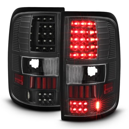 Fit  2004-2008 Ford F150 F-150 Black LED Tail Lights Brake Lamps Left+Right