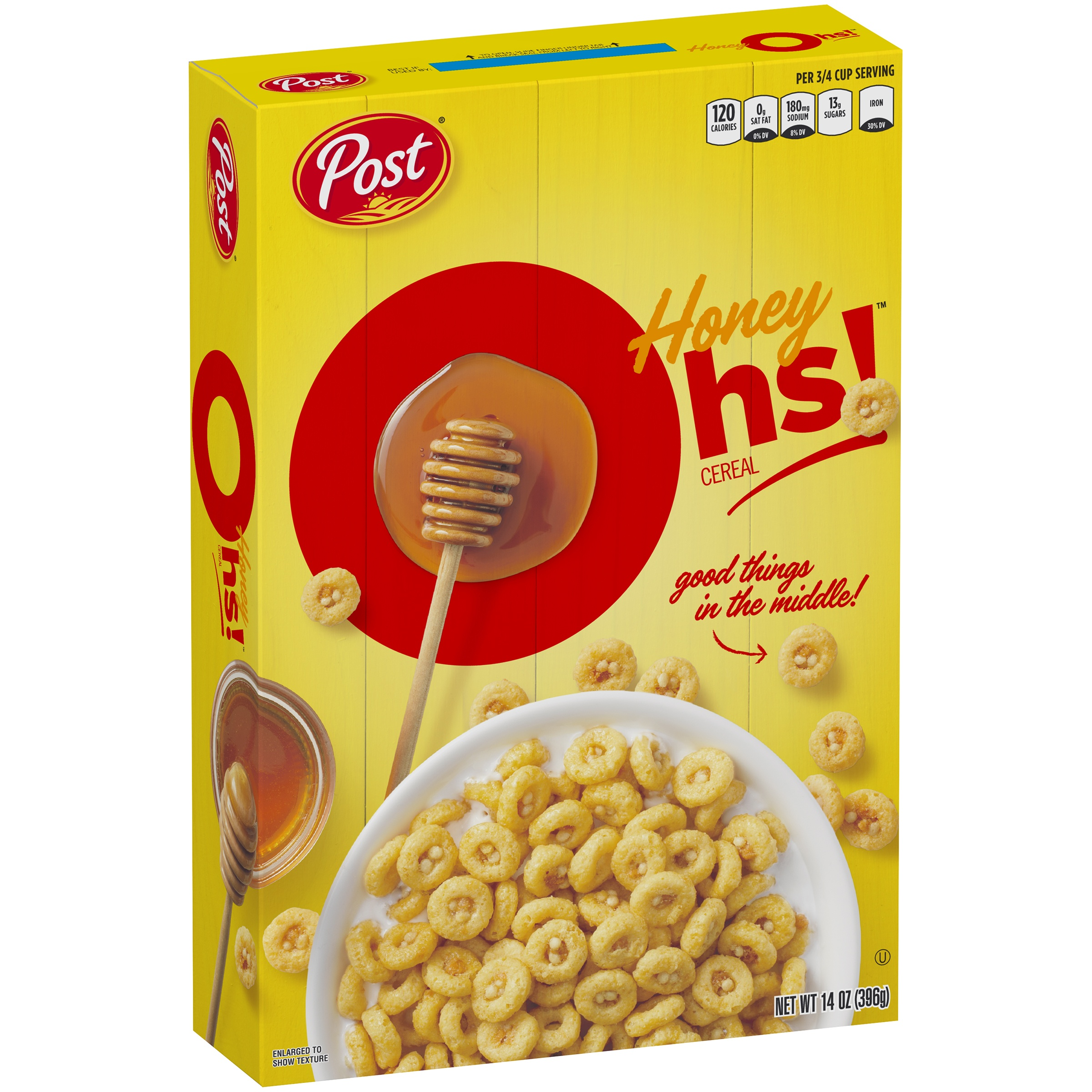 (2 Pack) Post Honey Oh's Breakfast Cereal, Filled O's, 14 Oz