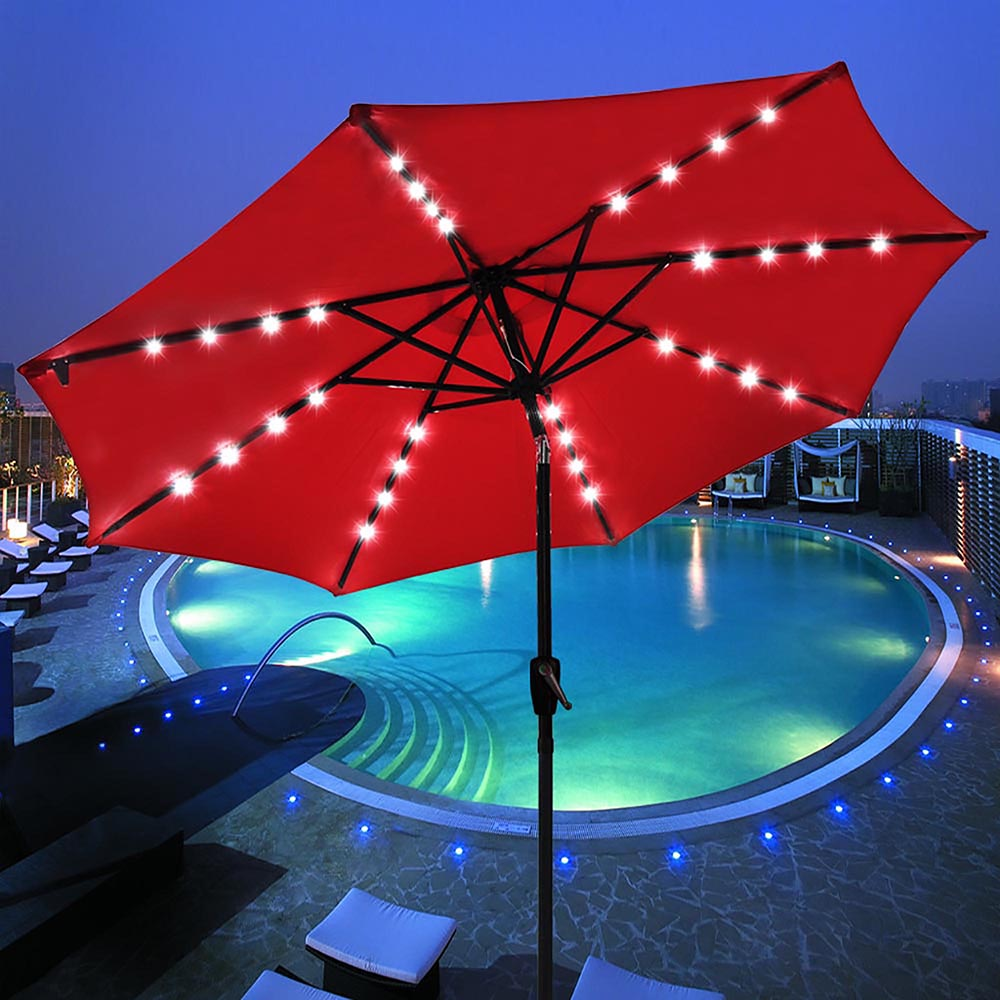 Yescom 9' Solar Patio Umbrella with 32 LEDs Crank Tilt UV30+ Outdoor Deck Beach Cafe... by Yescom