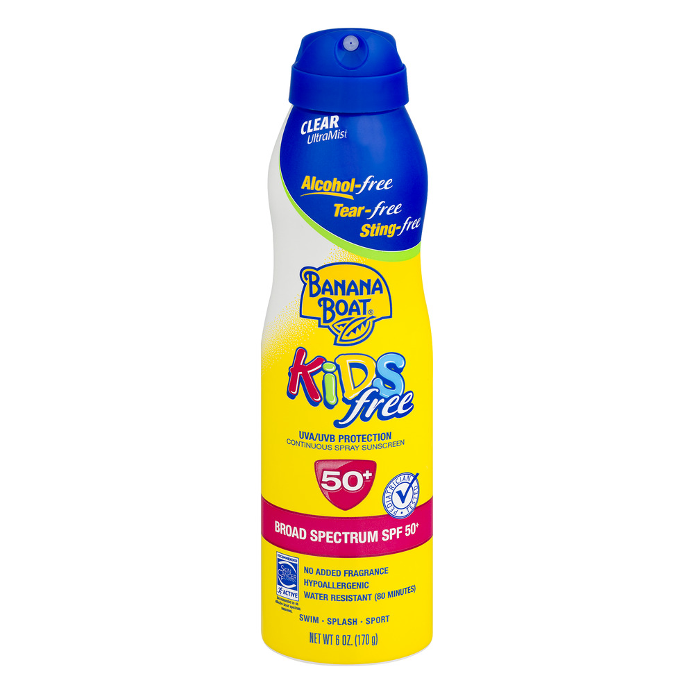 Banana Boat Kids free Broad Spectrum Continuous Spray Sunscreen, SPF 50+, 6 oz