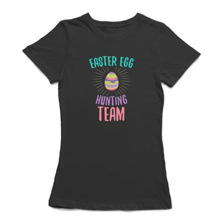 Colorful Easter Egg Hunting Team Graphic Women's Charcoal T-shirt - image 1 of 1
