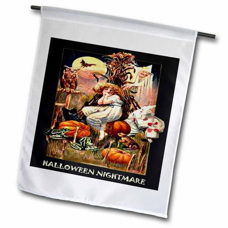3dRose Vintage Halloween Nightmare, Garden Flag, 18 by 27-In