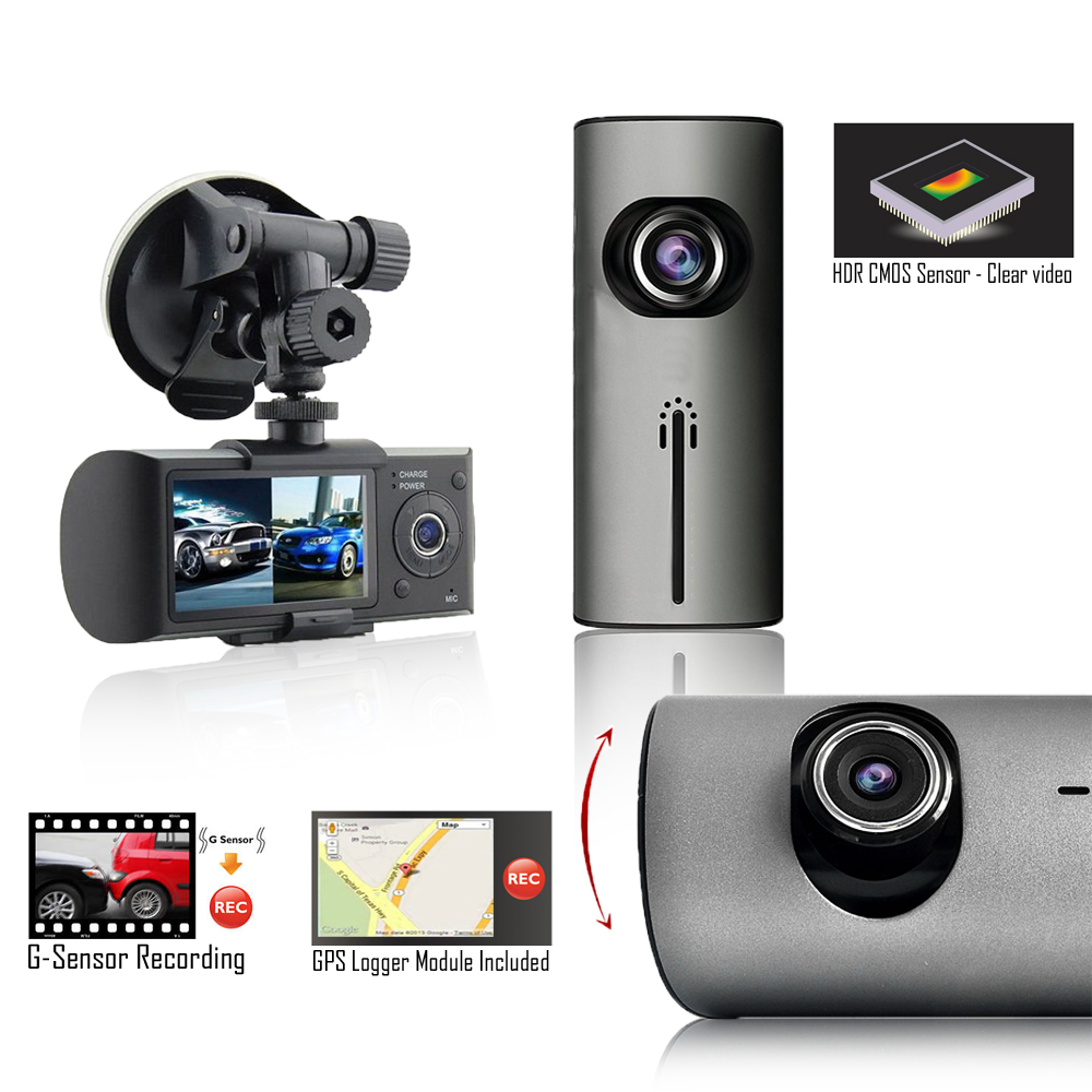 """Indigi XR300 Wide Angle 180 Degree Coverage Dash CAM DVR + 2.7"""" LCD + GPS Google Maps Tracking"""