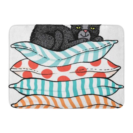 GODPOK Character White Animal Quirky Sketch of Black Cat Sitting Comfortably on Top Pile Cushions Cartoon Rug Doormat Bath Mat 23.6x15.7