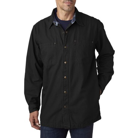 Backpacker BP7006 Men's Canvas Shirt Jacket with Flannel Lining - Black - 2XL