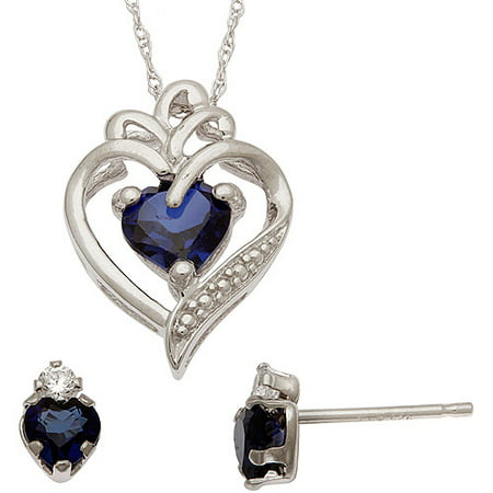 1.65 Carat T.G.W. Created Sapphire and CZ Sterling Silver Heart Pendant and Earrings Set
