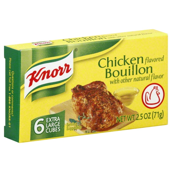 Knorr Chicken Flavor Bouillon with Other Natural Flavor, 6 count, 2.5 oz