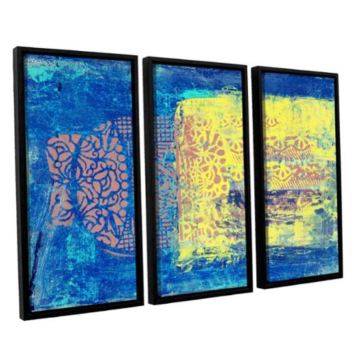 ArtWall Elena Ray ' Blue With Stencils 3 Piece Floater Framed Canvas Set by Overstock