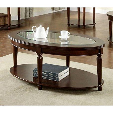 Traditional Crescent Dark Cherry Gl Top Oval Coffee Table Embly Required Idf 4131oc 19 Inches High X 28 Wide 48 Deep