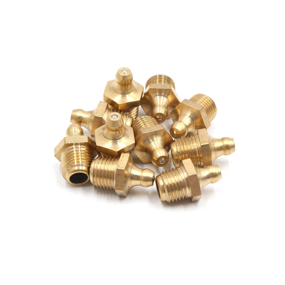 10Pcs M12 x 1.25 Thread Brass Straight Car Grease Zerk Nipple Fitting