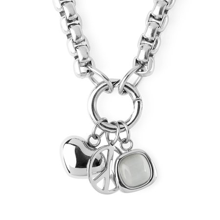 Stainless Steel Box Chain Heart and Peace Symbol Charmed Necklace Peace Heart Necklace