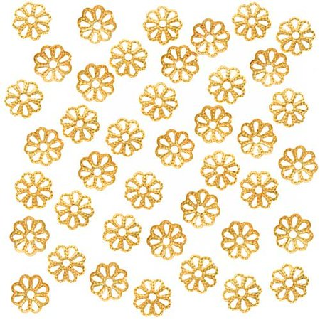 - Open Petal Flower Bead Caps, 6mm, Bright Gold Plated