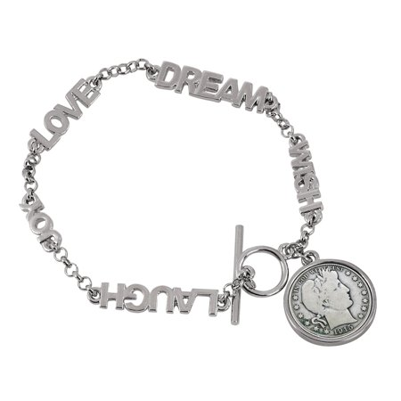 - Silver Barber Dime Inspirational Dream Wish Love Laugh Joy Coin Bracelet