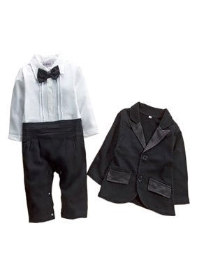StylesILove Baby Boy Tuxedo Romper and Jacket 2-pc Formal Wear Suit (3-6 Months)