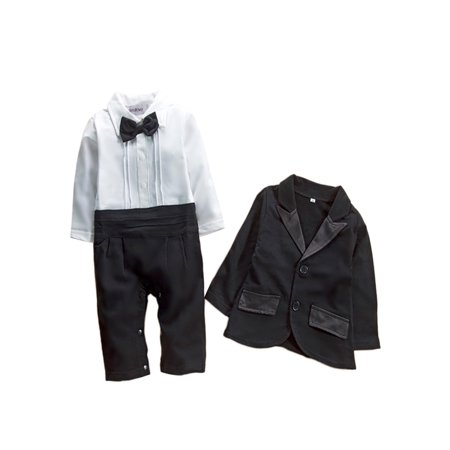 StylesILove Baby Boy Tuxedo Romper and Jacket 2-pc Formal Wear Suit (3-6 Months)](Infant Tuxedo Romper)