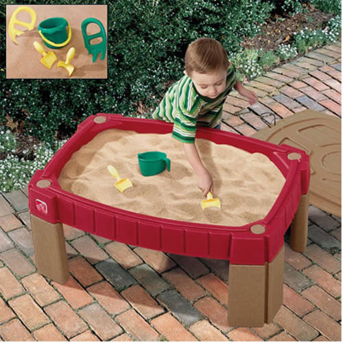 Step2 Naturally Playful Sand Table Includes Cover, 2 Shovels, 2 Claw Rakes,  And