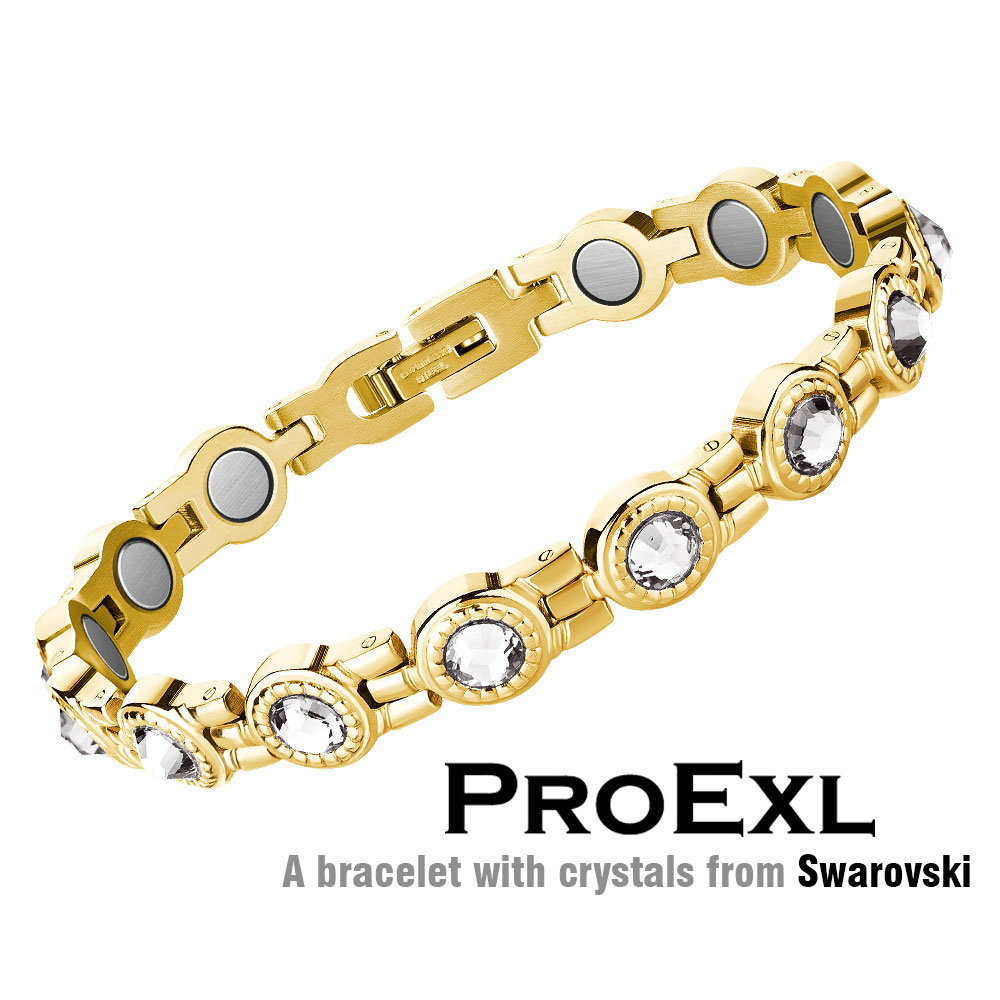 Elegant Womens Magnetic Therapy Bracelet with Crystals from Swarovski - ProExl Gift Box (Gold Clear) - image 4 of 4