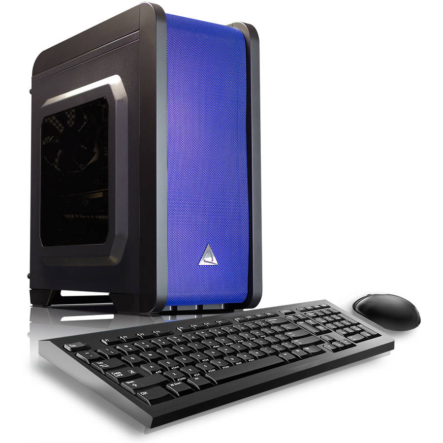 CybertronPC Blue Electrum QS-A6 Desktop PC with AMD A6-7400K Processor, 16GB Memory, 1TB Hard Drive and Windows 10 Home (Monitor Not Included)