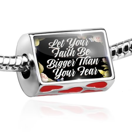 Bead Floral Border Let Your Faith Be Bigger Than Your Fear Charm Fits All European Bracelets