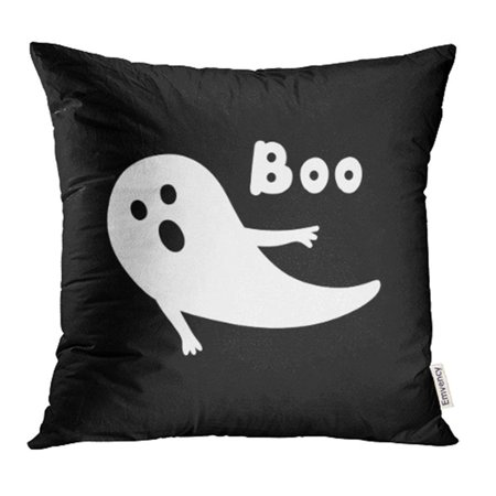 ARHOME Apparition Halloween Ghost with Open Mouthand Phrase Boo Doodles on Black Bogey Pillow Case Pillow Cover 18x18 inch Throw Pillow Covers - Halloween Phrases For Food