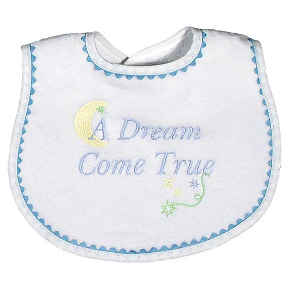 "Raindrops Baby Boys ""A Dream Come True"" Embroidered Bib, Blue"