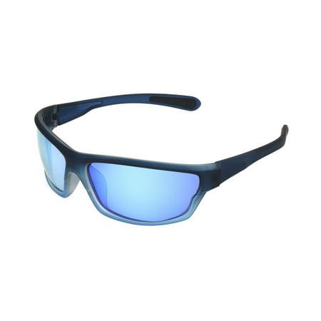 Foster Grant Men's Navy Mirrored Wrap Sunglasses JJ01](Navy Sunglasses)