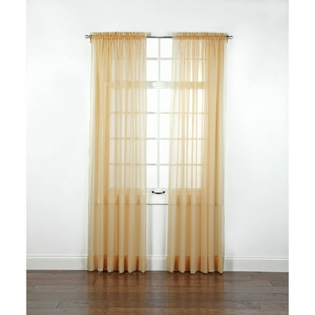 Elegance Voile Rod Pocket Panel](Gold Shimmer Curtains)