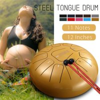 12 Inch Steel Tongue Drum Handpan C Major 11 Notes Percussion Instrument Hand Pan Tank Drum with Mallets & Bag