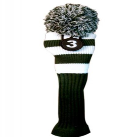 Pom Wood (Majek #3 Fairway Metal Wood Green & White Golf Headcover Knit Pom Pom Retro Classic Vintage Head)