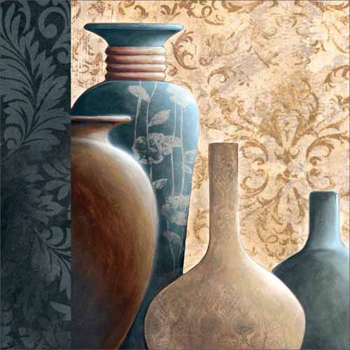 Patterned Textured Vessels & Pots Painting Blue Canvas Art by Pied Piper Creative