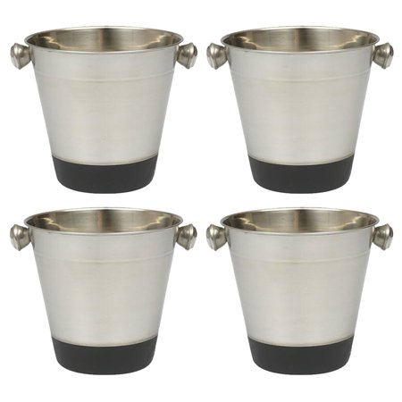 Crystal Champagne Bucket (4 Set Ice Bucket Champagne Wine Stainless Steel Cooler Drink Bar Restaurant 40oz)