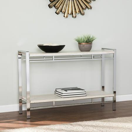 Southern Enterprises Cihak Faux Stone Console Table W Shelf Chrome