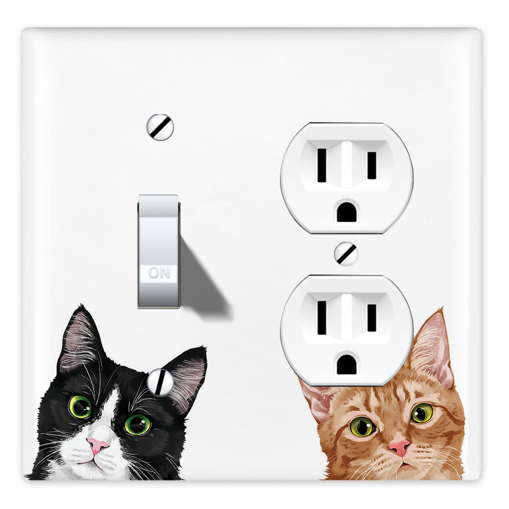 Wirester Double 1 Gang Toggle Light And 1 Gang Duplex Outlet Switch Plate Wall Plate Cover Animal Tuxedo Orange Tabby Cats Walmart Com Walmart Com