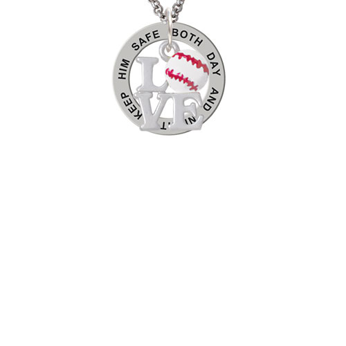 Love with Baseball Keep Him Safe Affirmation Ring Necklace