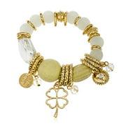 Chunky Charms and Beaded Elastic Bracelet (Goldtone w/ white)