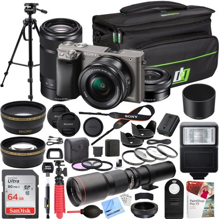 Sony Alpha a6000 Mirrorless Digital Camera (Grey) with 16-50mm & 55-210mm Lens ILCE-6000L/H and 500mm Preset f/8 Telephoto Lens + 0.43x Wide Angle, 2.2x Pro Bundle
