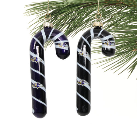 Baltimore Ravens 2-Pack Glass Candy Cane Ornaments - Black/Purple - No Size