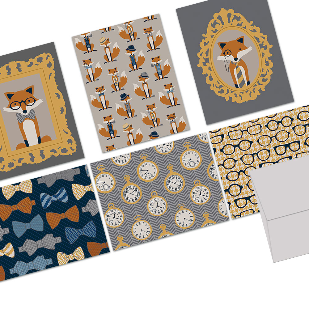 72 Note Cards - Fox and the Houndstooth - 6 Designs - Blank Cards - Gray Envelopes Included