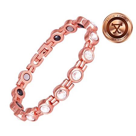 Proexl Womens Magnetic Solid Copper Bracelet With Magnets And Hemae For Arthritis Relief 7 50