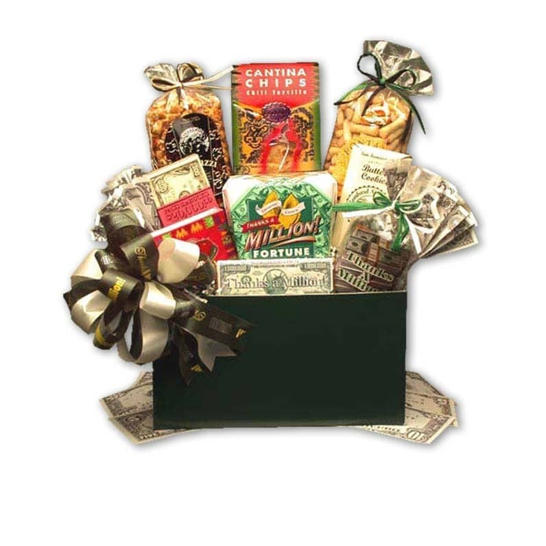 Gift Basket Drop Shipping Thanks a Million'Gourmet Food Gift Basket with Hunter-green Box
