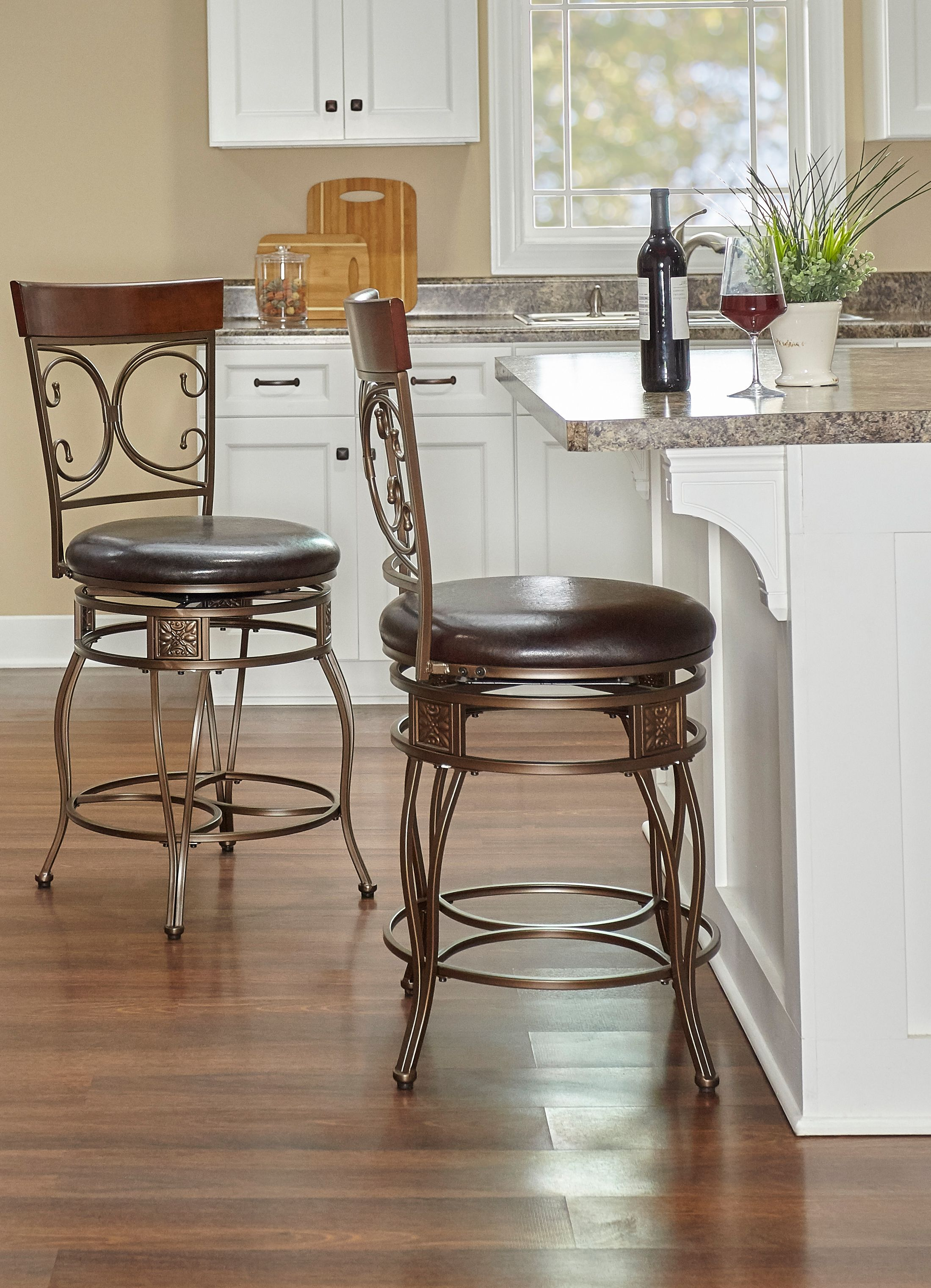 Powell Big and Tall Back to Back Scroll Counter Stool, Black by L. Powell Acquisition Corp.