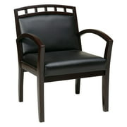 Guest Chair with Upholstered Wood Crown Back, Black