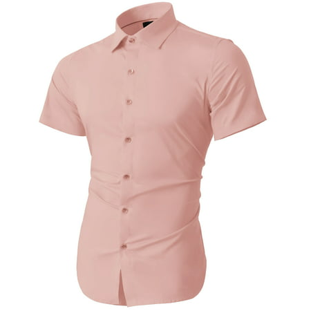 Mens Short Sleeve Slim Fit Button Down Solid Color Stretch Premium Dress Shirts](Mets Colors)